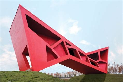 red tea house red geometric architecture figure