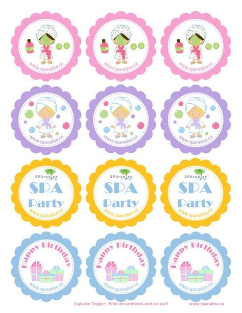 printable spa party decorations spa party cupcake and mobiles on pinterest
