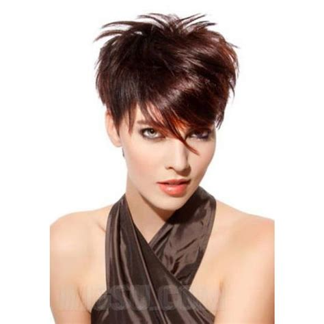 modern pixie 19pcs weave short hair extension modern short pixie long side bang haircut synthetic hair