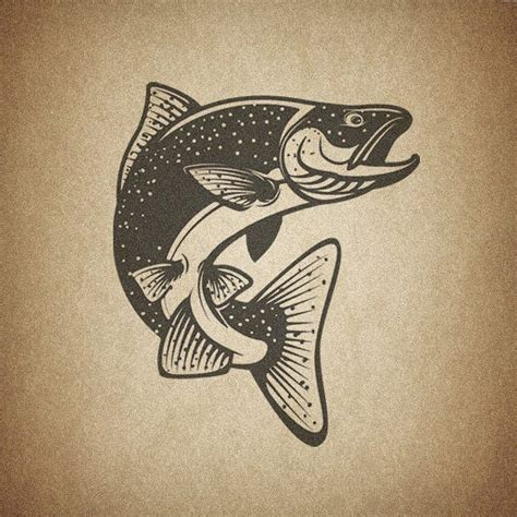salmon tattoo salmon salmon fish salmonfish trout vector image
