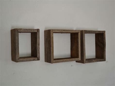 shadow boxes wall shelves reclaimed wood set of 3 by
