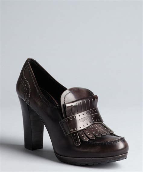 loafers pumps prada women s prada sport charcoal leather fringed