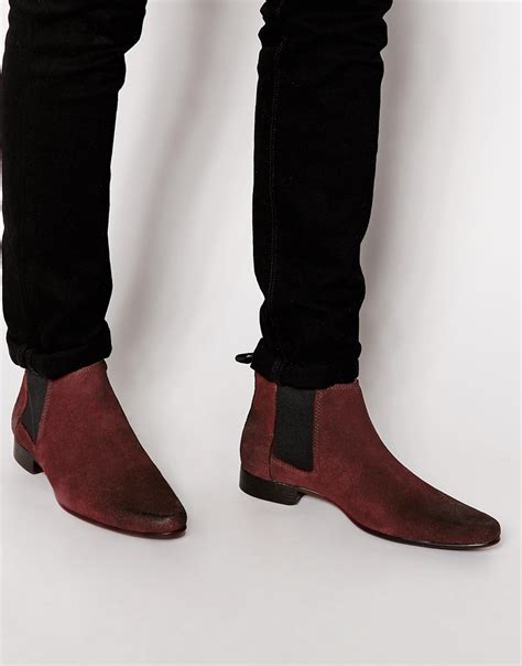 mens burgundy chelsea boots lyst asos chelsea boots in suede in for
