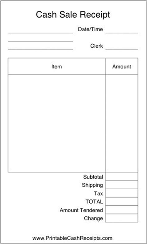 Retail Receipt Template by A Basic Airy Receipt With Plenty Of Room To Write In