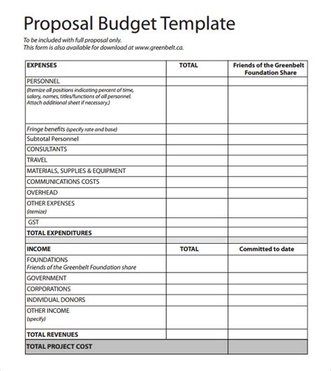 budget proposal template 17 free download for pdf