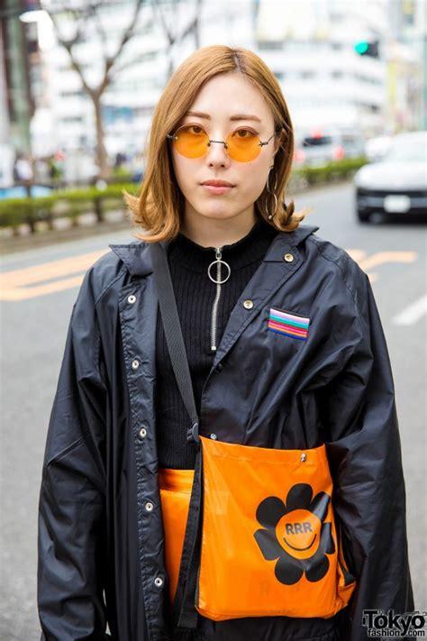 kenshi yonezu earrings harajuku girl trio street styles w orange satin pants