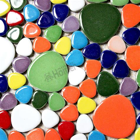 shipping free 12x12 rainbow colorful pebble ceramic mosaic tiles kitchen bathroom floor tiles