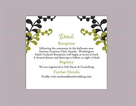 Wedding Enclosure Cards Free Template by Diy Wedding Details Card Template Editable Text Word File