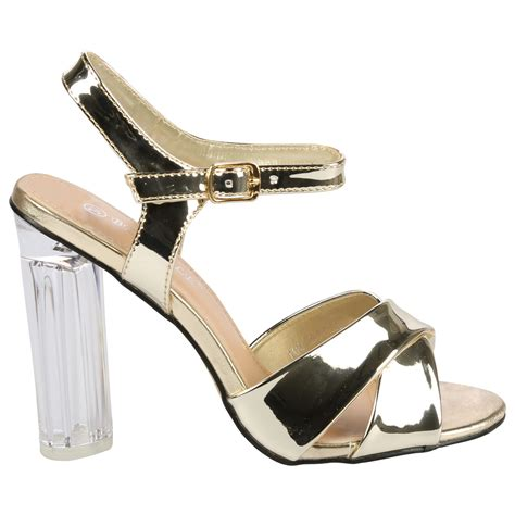 High Heels Sdh 169 womens high clear heels ankle strappy open toe sandals shoes size ebay