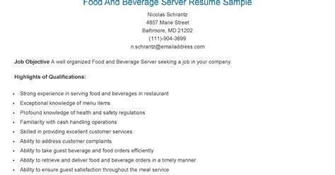 Sle Resume Food Beverage Server Exle Resume Food And Beverage 28 Images Professional Food And Beverage Server Templates To
