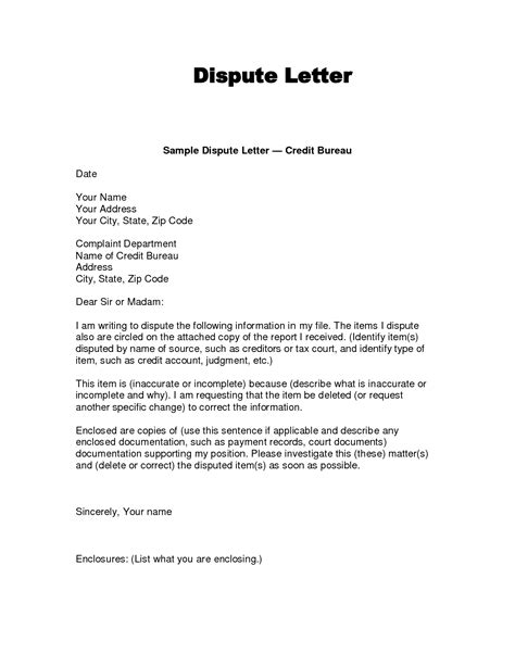 Special Credit Letter Credit Dispute Letter Letters Free Sle Letters