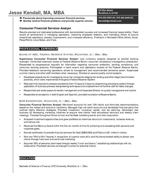 financial analyst resume template exle consumer financial services analyst resume free