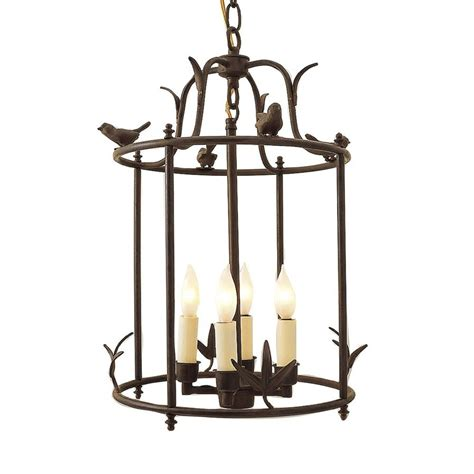 Bird Chandelier Lighting Shop Jvi Designs Hanging Bird 12 In Rust Rustic Single Cage Pendant At Lowes