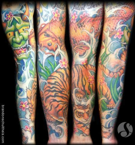 koi tiger tattoo tattoo sleeve with koi tiger rose and dragon and waves