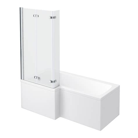 l shaped shower bath with hinged screen milan shower bath 1700mm l shaped with hinged screen panel