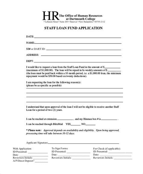 Sle Loan Application Form 11 Free Documents In Word Pdf Employee Loan Template