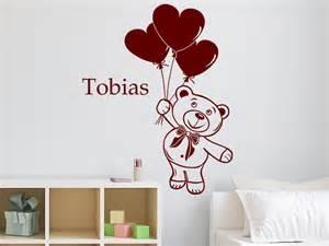 kinderzimmer deko teddy wandtattoo fliegender teddyb 228 r mit name bei homesticker de