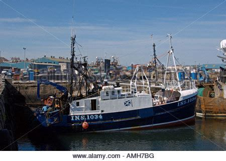 fishing boat jobs in scotland boats in peterhead harbour aberdeenshire stock photo