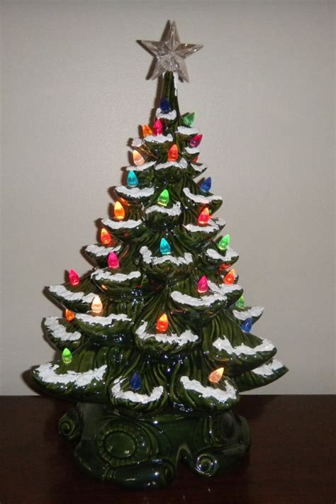 ready to ship old fashioned green ceramic christmas tree