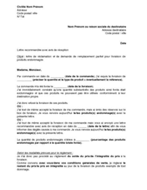 Lettre De Motivation De Acheteur Lettre De R 233 Clamation Et De Demande De Remplacement Partiel Pour Livraison De Produits