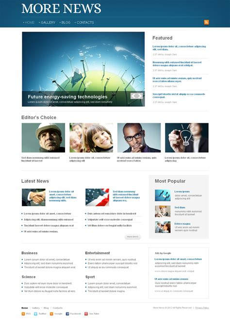 Live Preview For News Portal Moto Cms Html Template 41456 News Html Template