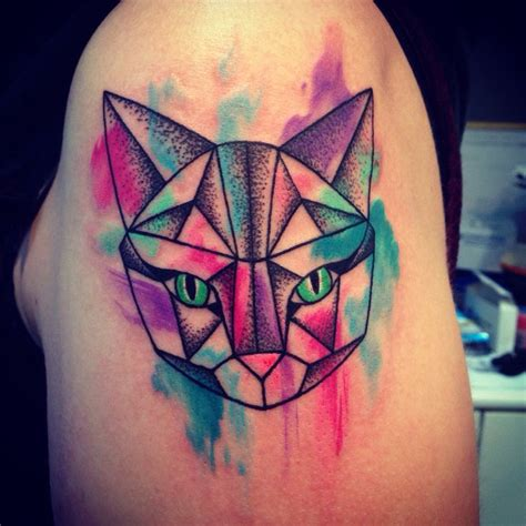 geometric tattoo trend 2017 trend geometric tattoo space cat geometric lines