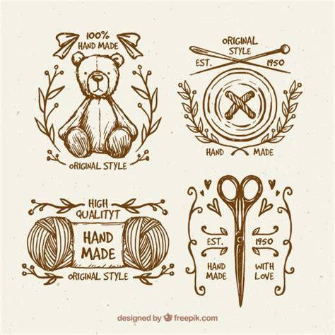 imagenes vintage bonitas bonitas insignias vintage de costura dibujadas a mano
