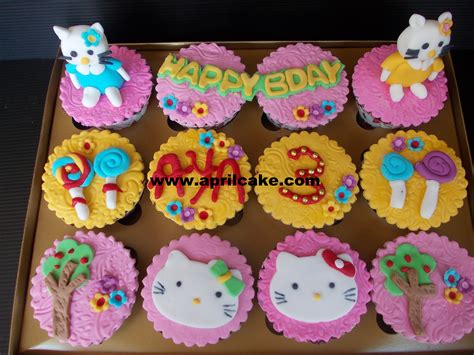 Cupcake Tema Hellokitty hello april cake