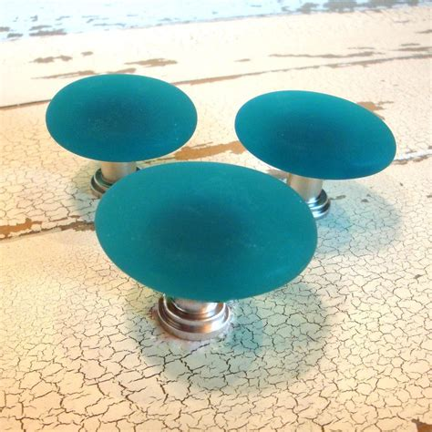 Beachy Cabinet Hardware by Teal Glass Cabinet Knob Drawer Pull Beachyrustica