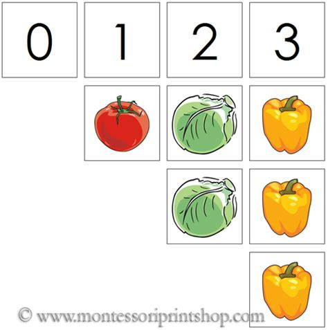 printable montessori number cards 0 to 10 numbers counters vegetables printable