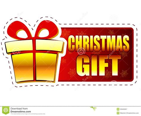 christmas gift and present box on red banner with