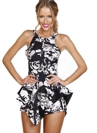 black and white patterned playsuit black white floral print sleeveless playsuit w