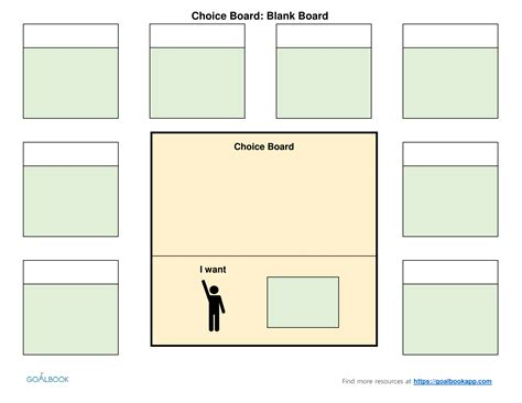 blank board template choice boards udl strategies