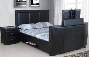 Bed With Tv Footboard Arya Brown Faux Leather Super Kingsize Tv Bed Images Frompo