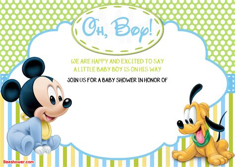 Free Mickey Mouse Baby Shower Invitation Templates free printable disney baby shower invitations drevio