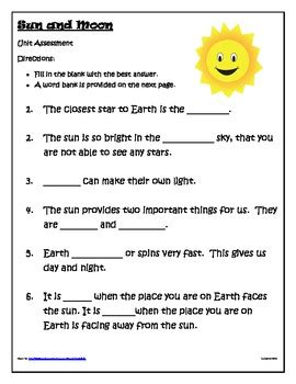 sun moon earth worksheets first grade. sun. best free
