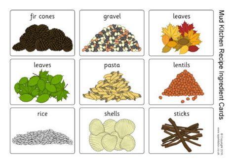 mud kitchen recipe ingredient cards (sb11579) sparklebox