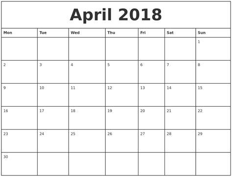 printable 2018 april calendar