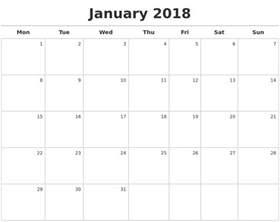 Calendar 2018 Printable Monday Start Calendars Pdf 2017 2018 Cars Reviews