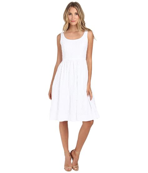 donna embroidered tea length tank dress in white lyst