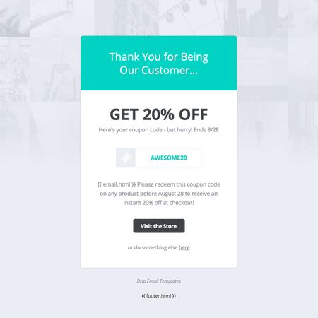 Email Card Template by Drip Email Templates Coupon Code Template