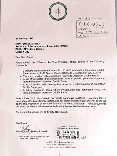 Attestation Letter From Local Government Look Robredo Letter To Pnp Dilg Before Controversial Message Inquirer News