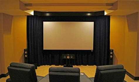 home theater screen wall design floating cinema screen a wall of velour curtains a