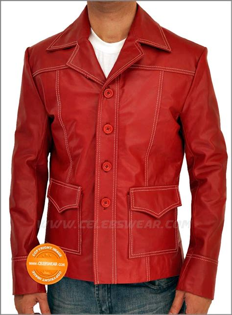 brad pitt fight club jacket brad pitt fight club red leather jacket fight club photo