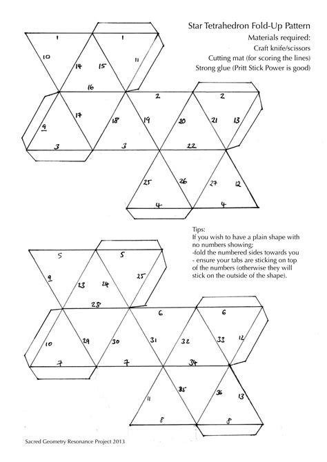 How To Make A Tetrahedron Out Of Paper - tetrahedron cut out pattern for 3d shape sacred