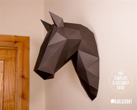 Papercraft Trophy - moon stallion papercraft in black low poly 3d