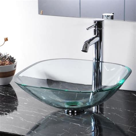 glass vessel sink modern square tempered glass vessel sink bathroom