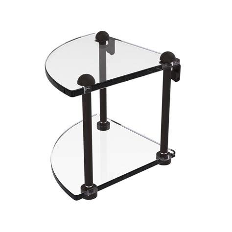 Bronze Corner Shelf by Allied Brass 8 In 2 Tier Corner Glass Shelf In Rubbed