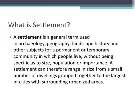 definition pattern of settlement urban planning and settlements