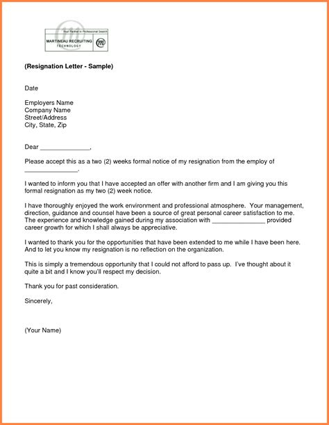 two weeks notice two weeks notice professional resignation letter